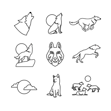 wolverine: Wolves hauling at the full moon on the rock, jumping and running, wolf cub, head and pack. Thin line art icons set. Modern black symbols isolated on white for infographics or web use.