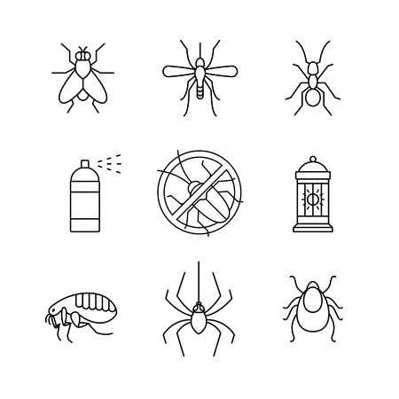 disease control: Insects control, anti pest emblem, insecticide, thin line art icons set. Modern black symbols isolated on white for infographics or web use.