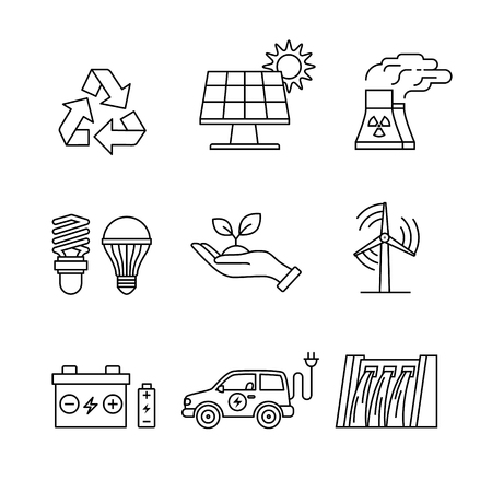 hand holding plant: Power generation and ecologic energy thin line art icons set. Modern black symbols isolated on white for infographics or web use.
