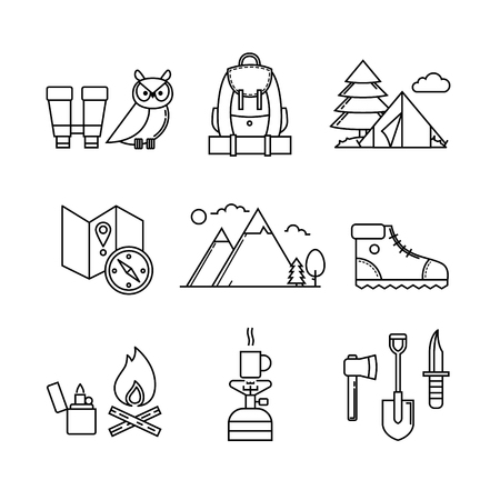 camping pitch: Forest and mountains hiking thin line art icons set. Modern black symbols isolated on white for infographics or web use. Illustration