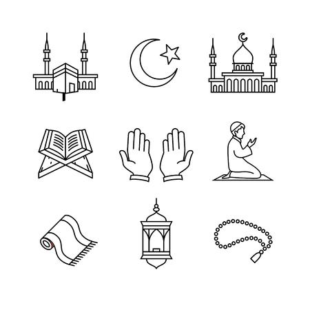 Moslim islam gebed en ramadan kareem dunne lijn art iconen set. Moderne zwarte symbolen geïsoleerd op wit voor infographics of web gebruik. Vector Illustratie
