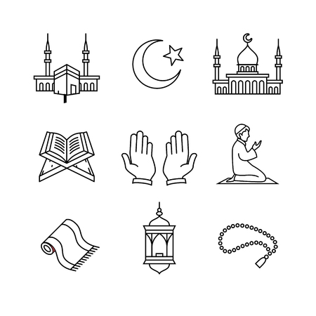 islamic: Muslim islam prayer and ramadan kareem thin line art icons set. Modern black symbols isolated on white for infographics or web use.