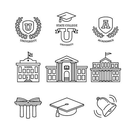 Mortar board, education, school, academy, college and university, library emblems and buildings. Thin line art icons set. Modern black symbols isolated on white for infographics or web use. Vettoriali