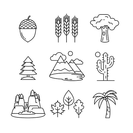 cascade mountains: Nature and forest thin line art icons set. Modern black symbols isolated on white for infographics or web use. Illustration