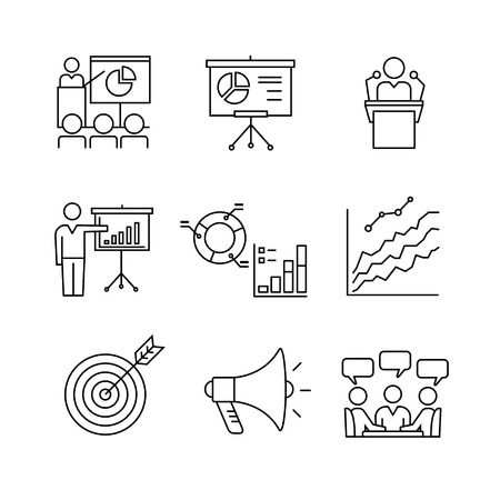 room: Business presentation, education, seminar, lecture, speech analytics and statistics thin line art icons set. Modern black symbols isolated on white for infographics or web use.