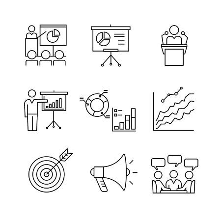 présentation d'affaires, de l'éducation, séminaires, conférences, analyse de la parole et de statistiques ligne fine art icons set. Moderne symboles noirs isolé sur blanc pour infographies ou l'utilisation du Web. Vecteurs