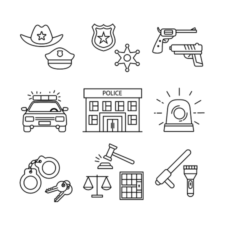 jail: Police building, car, court and law enforcement thin line art icons set. Modern black symbols isolated on white for infographics or web use. Illustration