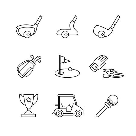 golf clubs: Golf sport and equipment thin line art icons set. Clubs, flag and green hole, trophy. Modern black symbols isolated on white for infographics or web use. Illustration