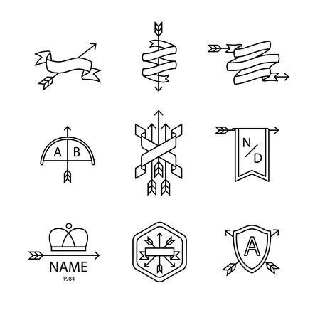 armorial: Arrow ribbon and emblem thin line art icons set. Modern black style symbols isolated on white for infographics or web use.