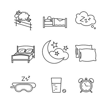 Iconos de dormir, descansar la hora de dormir y una cama fina línea de arte. Modernos símbolos de estilo negro aislados en blanco para la infografía o uso de la Web.