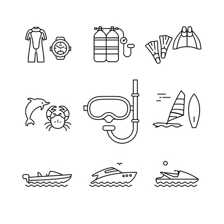 sea  scuba diving: Diving and freediving equipment, boats thin line art icons set. Modern black style symbols isolated on white for infographics or web use.