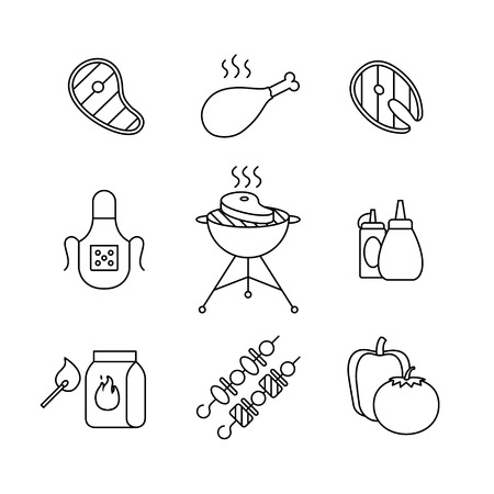grill meat: Barbecue and outdoor meat and fish steak grill frying thin line art icons set. Modern black style symbols isolated on white for infographics or web use. Illustration