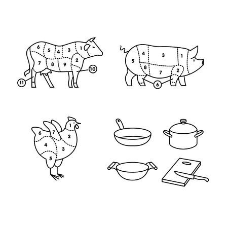 flank: Beef, pork and chicken cut schemes. Frying pan, wok, cooking pot and cutting board with knife. thin line icons vector set isolated on white.