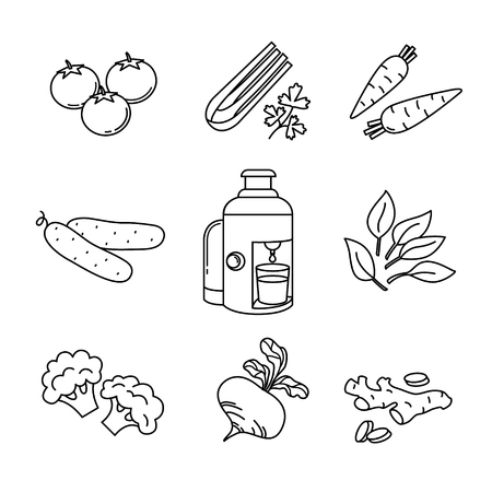 extractor: Thin line icons set. Vegetables and juice extractor and squeezer. Flat style color vector symbols isolated on white. Illustration