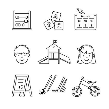 school playground: Kindergarten education icons thin line art set. Girl, boy, abacus, abc blocks, calendar, playground slide and other equipment. Black vector symbols isolated on white.