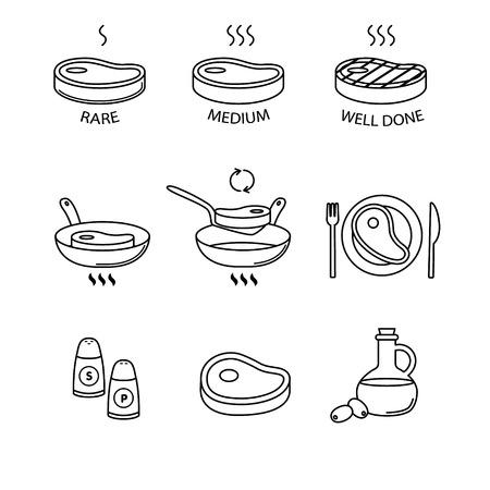 Stek na patelni i ikony gotowania cienka linia sztuki zestawu. Rzadko, średnie i dobrze zrobione, olej. sól i pieprz, mięso na talerzu. Czarne symbole wektor na białym.