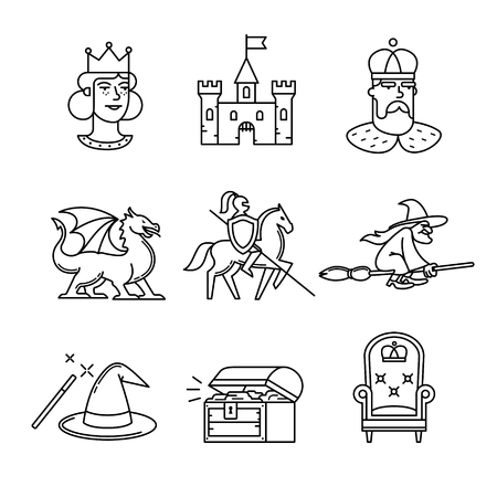 witch on broom: Fairy tail icons thin line art set. Black vector symbols isolated on white.