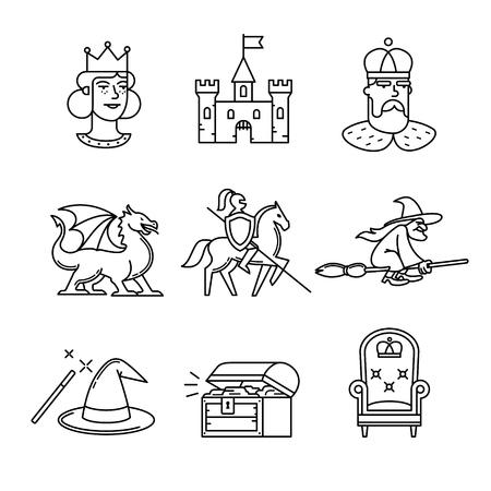 rycerz: Fairy Tail ikony zestaw cienkiej linii sztuki. Czarne symbole wektor na białym. Ilustracja