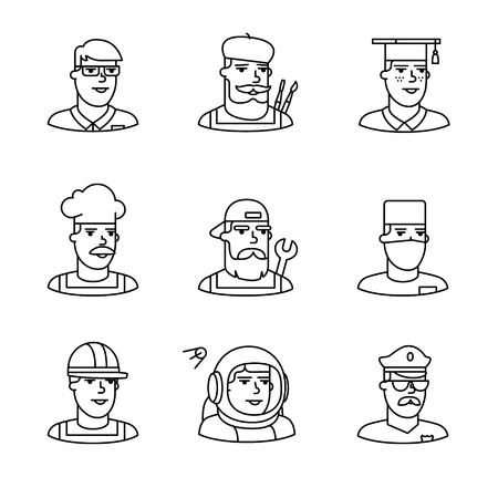 black people: People professions paces icons thin line art set. Hipster characters. Black vector symbols isolated on white.
