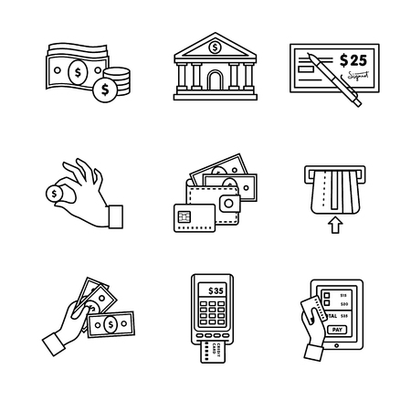 checkbook: Banking icons thin line art set. Currency operations, bank building, check, wallet and credit card, paper cash and coins in hands, pos machine. Black vector symbols isolated on white.