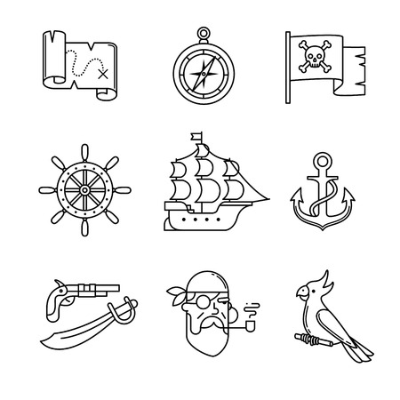 line vector: Pirate icons thin line art set. Black vector symbols isolated on white.