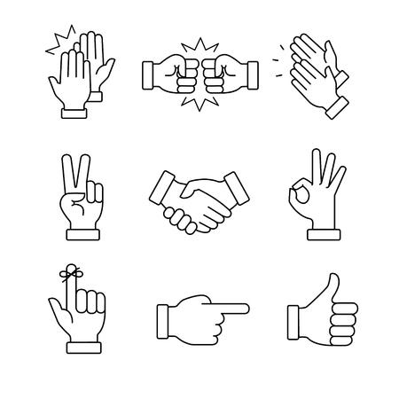 Battendo le mani e altri gesti. Thin Line Art icone set.Black vettore simboli isolati su bianco.