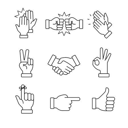 dedo: Mãos de aplauso e outros gestos. arte ícones linha fina set.Black símbolos vector isolado no branco.