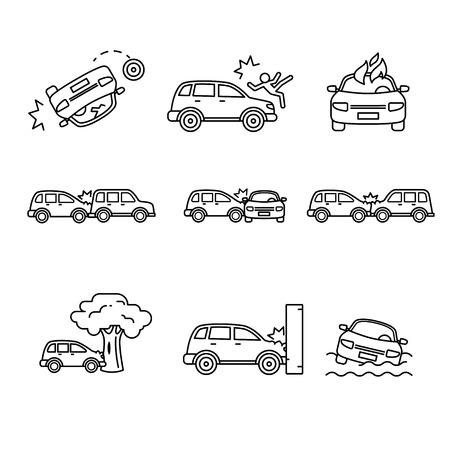 Auto-ongeluk en ongevallen. Dunne lijn art iconen set. Zwarte vector symbolen geïsoleerd op wit.