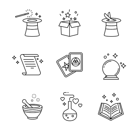glass ball: Magic and magician tools. Thin line art icons set. Black vector symbols isolated on white.