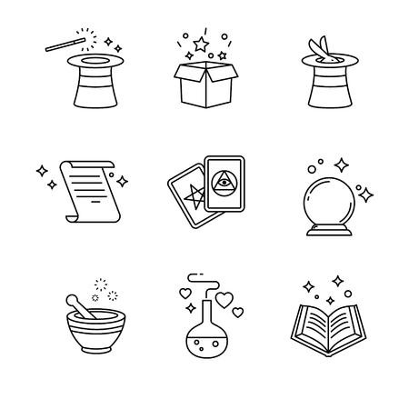 Magie et outils magicien. Minces icônes d'art en ligne réglés. symboles de vecteur noir isolé sur blanc. Vecteurs