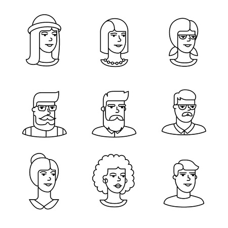 girl wearing glasses: Human faces icons thin line art set. Hipster characters. Black vector symbols isolated on white.