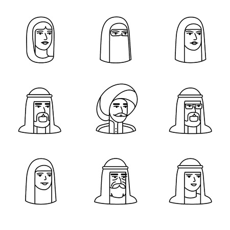 niqab: Arabic and muslim people faces icons thin line art set. Black vector symbols isolated on white.
