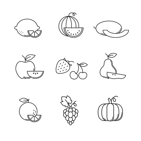 cucurbit: Fruit icons thin line art set. Black vector symbols isolated on white. Illustration