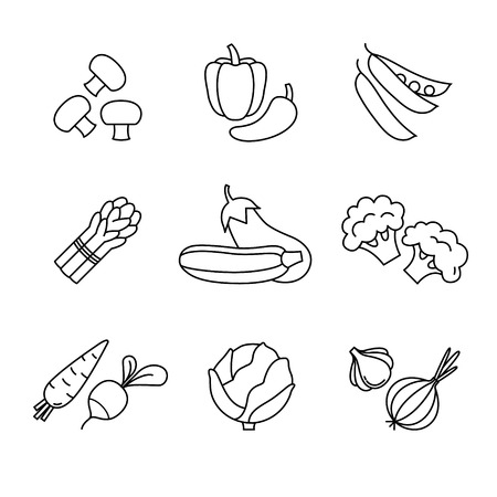 icon red: Vegetable icons thin line art set. Black vector symbols isolated on white.