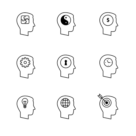 purposefulness: Human mind icons thin line art set. Thinking and mental process. Black vector symbols isolated on white.