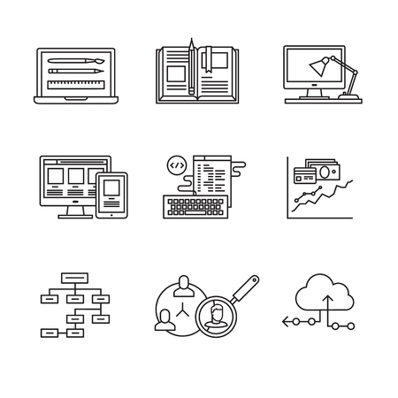css: Web and app development, programming and project management icons thin line art set. Design process, working desk, prototyping and mockups. Black vector symbols isolated on white. Illustration