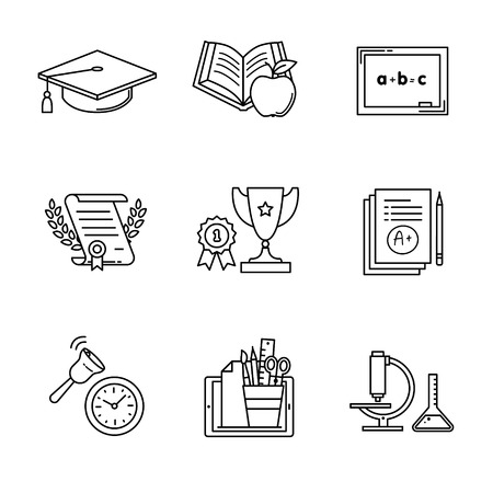 first grade: Education icons thin line art set. Black vector symbols isolated on white.