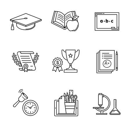 Iconos de la educación delgada línea set arte. vector símbolos negros aislados en blanco. Ilustración de vector