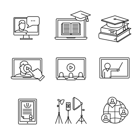 students in class: Online seminar icons thin line art set. Webinar education and development. Black vector symbols isolated on white.