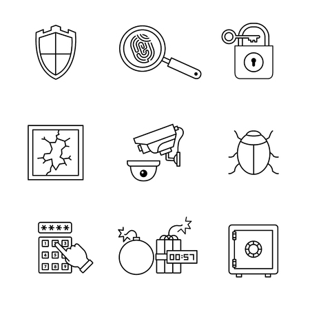 magnyfying glass: Security and cybersecurity icons thin line art set. Black vector symbols isolated on white. Illustration