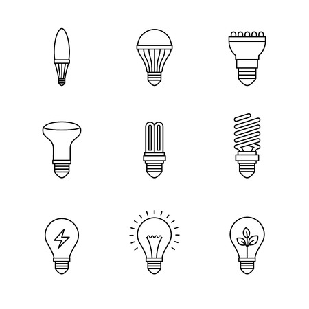 thin bulb: Light bulb icons thin line art set. Black vector symbols isolated on white. Illustration