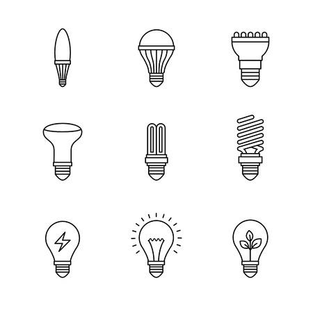 lumen: Light bulb icons thin line art set. Black vector symbols isolated on white. Illustration