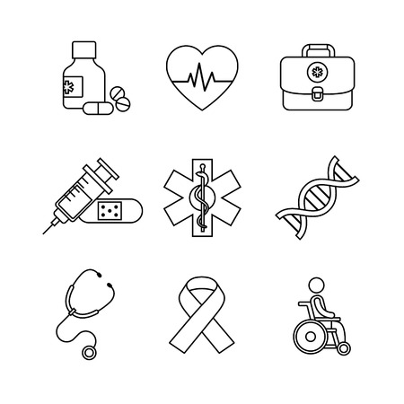 a snake in a bag: Thin line art icons set. Medical, healthcare and health awareness. Black vector symbols isolated on white.
