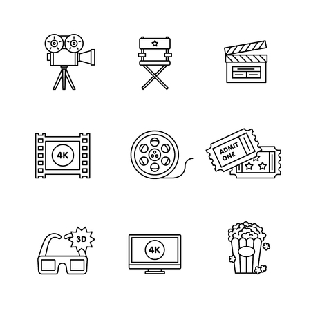 home entertainment: Movie, film and video icons thin line art set. Black vector symbols isolated on white.