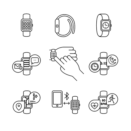 hand beats: Thin line art icons set. Modern smart watches and apps. Tapping smartwatch on hand wrist. Black vector symbols isolated on white.