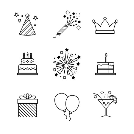 banger: Birthday icons thin line art set. Celebration event, cake and fireworks. Black vector symbols isolated on white. Illustration