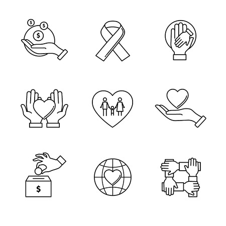 care: Support and care icons thin line art set. Black vector symbols isolated on white.