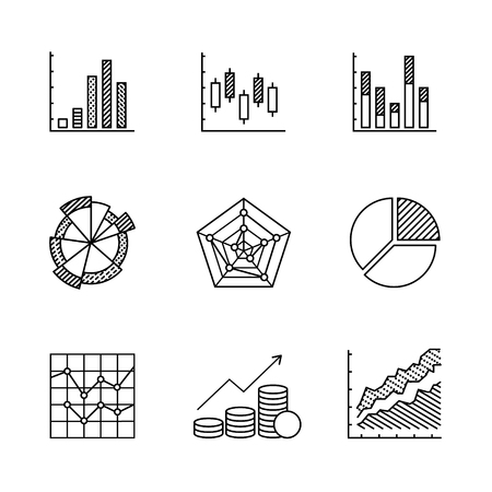 data line: Business charts and data icons thin line art set. Black vector symbols isolated on white.