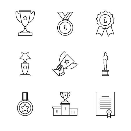 Zdobywca nagrody ikony cienka linia sztuki zestawu. Czarne symbole wektor na białym.