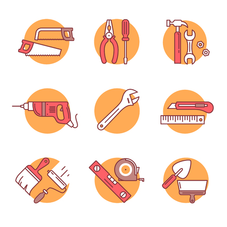 Conjunto de ferramentas e hardware em casa. Ícones de arte linha fina. Ilustrações de estilo plano isoladas no branco. Ilustración de vector